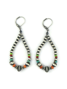 Multi Gemstone Silver Bead Loop Earrings (ER5653)