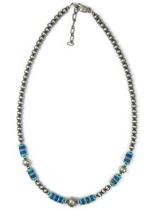 Turquoise & Lapis Silver Bead Necklace (NK4866)