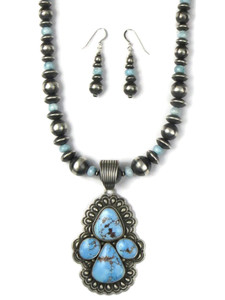 Golden Hills Turquoise Necklace & Earring Set by Tsosie White (NK4868)