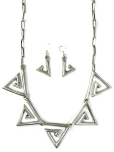 Silver Geometric Design Necklace Set by Teresa Bia (NK4870)
