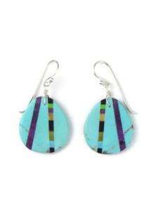 Turquoise & Gemstone Inlay Slab Earrings (ER5789)