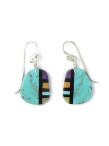 Turquoise & Gemstone Inlay Slab Earrings (ER5790)