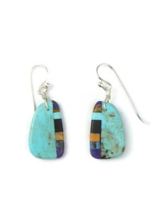 Turquoise & Gemstone Inlay Slab Earrings (ER5791)