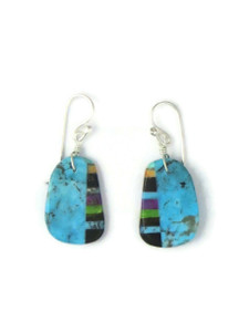 Turquoise & Gemstone Inlay Slab Earrings (ER5792)