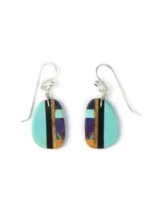 Turquoise & Gemstone Inlay Slab Earrings (ER5793)