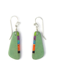 Turquoise & Gemstone Inlay Slab Earrings (ER5794)