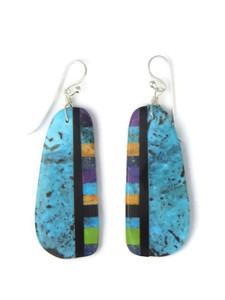 Turquoise & Gemstone Inlay Slab Earrings (ER5796)