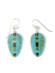 Turquoise & Gemstone Inlay Feather Slab Earrings (ER5797)