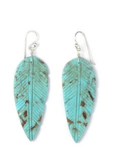 Turquoise Feather Slab Earrings (ER5803)