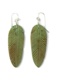 Turquoise Feather Slab Earrings (ER5805)