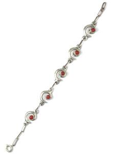 Silver Swirl Coral Link Bracelet by Mildred Parkhurst (BR6397)