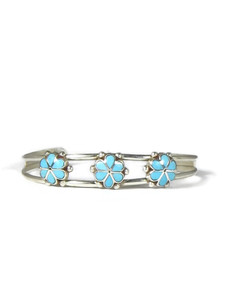 Turquoise Inlay Flower Bracelet by Bernadette Hattie (BR6399)