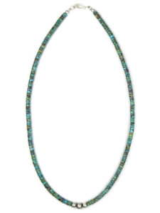 "Turquoise Heishi Silver Bead Necklace 18"" (NK4871)"
