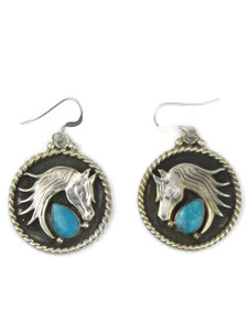 Turquoise Silver Horse Earrings (ER5814)