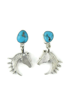 Turquoise Silver Horse EArrings (ER5820)