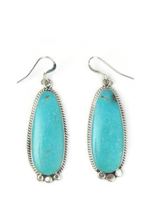 Silver Turquoise Dangle Earrings by Roberta Begay (ER5821)