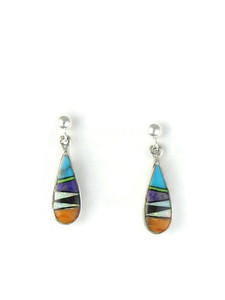 Multi Gemstone Inlay Earrings by Rick Tobias (ER3734)