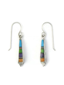 Multi Gemstone Inlay Earrings by Ervin Hoskie (ER4387)
