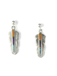 Multi Gemstone Inlay Feather Earrings (ER4389)