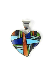 Reversible Multi Gemstone Inlay Heart Pendant by Calvin Begay Jewelry (PD4331)