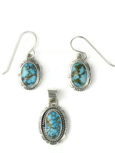 Kingman Turquoise Earring & Pendant Set (PD4332)
