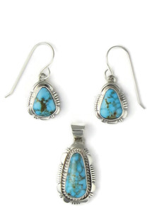Kingman Turquoise Earring & Pendant Set (PD4333)