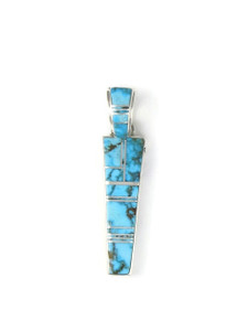 Reversible Kingman Turquoise Inlay Pendant by Calvin Begay Jewelry (PD4346)