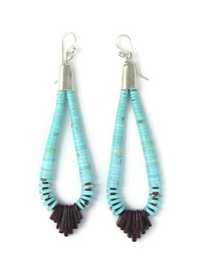 "Turquoise & Spiny Oyter Shell Jacla Earrings 3 3/4"" (ER4395)"