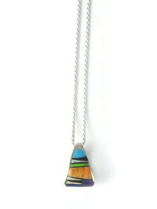 Multi Gemstone Inlay Barrel Pendant (PD4348)