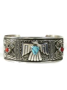 Kingman Turquoise & Coral Thunderbird Cuff Bracelet (BR6384)