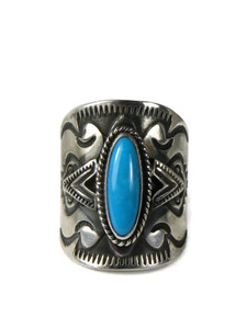 Sleeping Beauty Turquoise Cigar Band Ring Size 9 1/4 (RG5120)