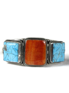 Kingman Turquoise & Spiny Oyster Shell Bracelet by Derrick Gordon (BR6385)