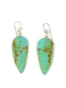 Turquoise Feather Slab Earrings (ER5823)