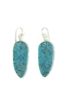 Turquoise Feather Slab Earrings (ER5824)
