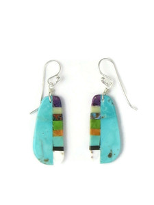 Turquoise & Gemstone Inlay Slab Earrings (ER5838)