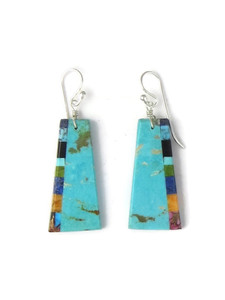 Turquoise & Gemstone Inlay Slab Earrings (ER5840)