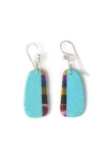 Turquoise & Gemstone Inlay Slab Earrings (ER5841)