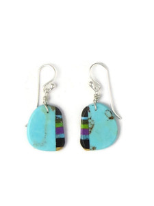 Turquoise & Gemstone Inlay Slab Earrings (ER5842)