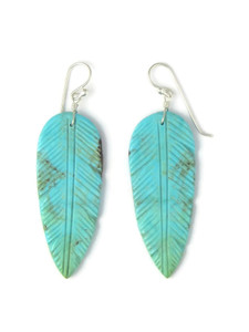 Turquoise Feather Slab Earrings (ER5843)