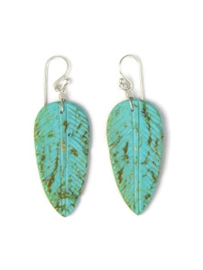 Turquoise Feather Slab Earrings (ER5844)