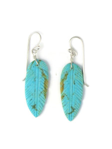 Turquoise Feather Slab Earrings (ER5845)