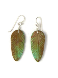 Turquoise Feather Slab Earrings (ER5846)