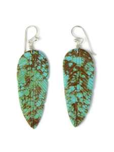 Turquoise Feather Slab Earrings (ER5847)