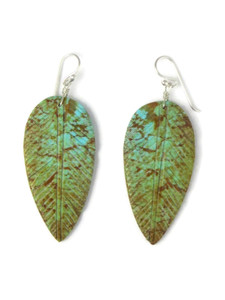 Turquoise Feather Slab Earrings (ER5848)