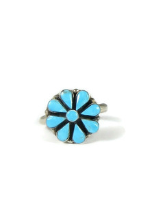 Turquoise Flower Ring Size 7 by Arlo Kanteena (RG5168)
