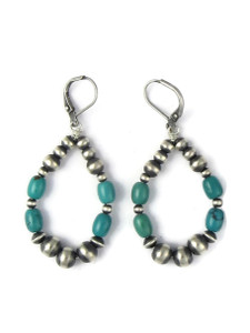 Turquoise Silver Bead Loop Earrings (ER5850)