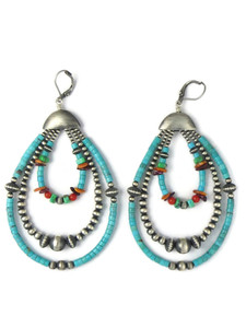 Turquoise & Gemstone Beaded Loop Earrings (ER5852)