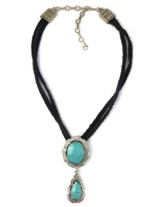 Turquoise Pendant Leather Choker Necklace by Irvin Tsosie (NK4872)