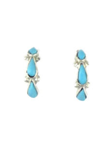 Small Turquoise Inlay Hoop Earrings by Bryce Vacit (ER4399)