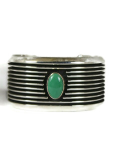 Emerald Valley Turquoise Silver Channel Cuff Bracelet by Francis Jones (BR6428)